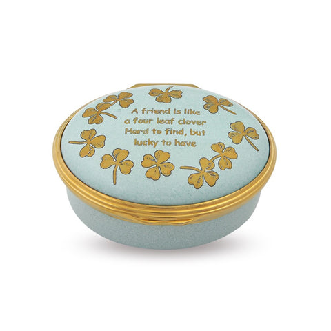 Halcyon Days Four Leaf Clover Enamel Box in Light Teal and Gold