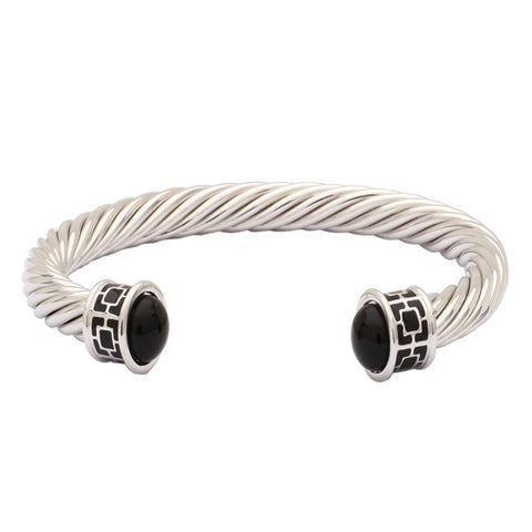 Maya Open Twist Wire Bracelet | Maya Torque Enamel | Black and Palladium | Halcyon Days | Made in England