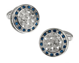 Blue Stones with Woven Design Cufflinks-Cufflinks-Sterling-and-Burke