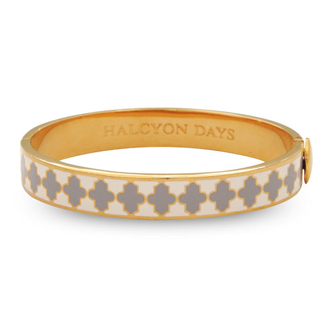 Enamel Bangle | 1cm Agama Hinged Cream, Grey, and Gold Bangle | Halcyon Days | Made in England-Bangle-Sterling-and-Burke