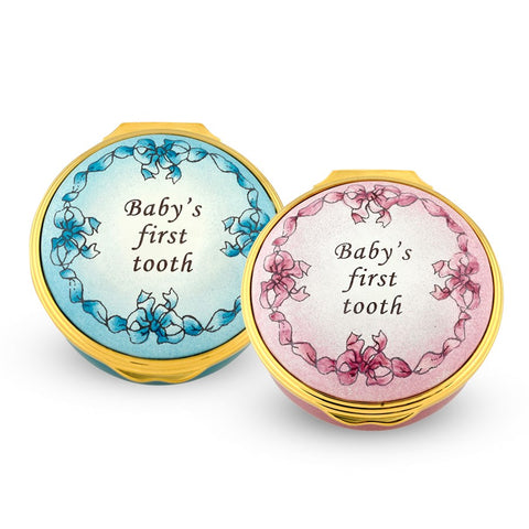 Enamel Box | Baby's First Tooth Enamel Box, Pink | Halcyon Days | Made in England-Enamel Box-Sterling-and-Burke
