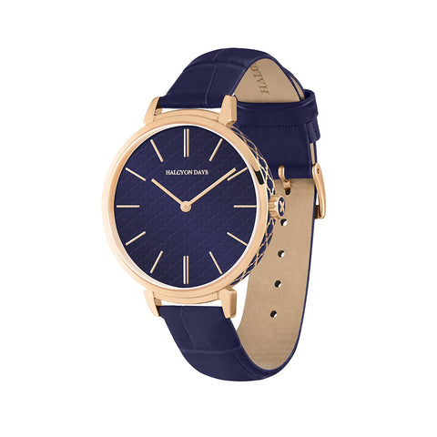 Agama Sport Watch | Navy and Rose Gold | Halcyon Days | Made in England