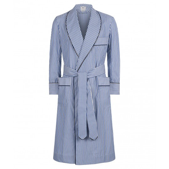 Budd Exclusive Stripe Cotton Dressing Gown in Edwardian Blue-Dressing Gown-Sterling-and-Burke