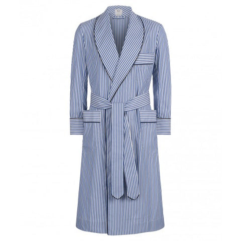 Budd Exclusive Stripe Cotton Dressing Gown in Edwardian Blue