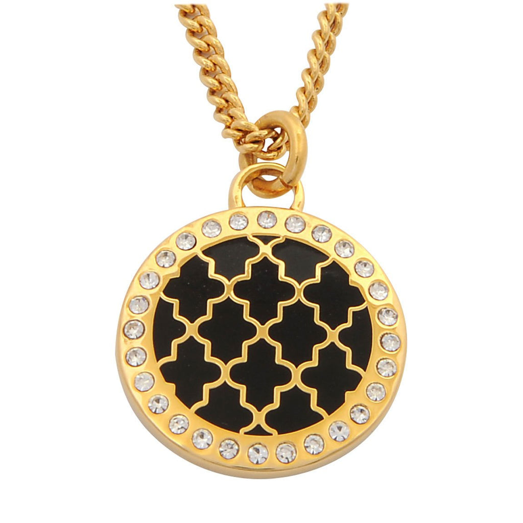 Enamel Pendant | Agama Sparkle Pendant Necklace | Black and Gold | Halcyon Days | Made in England-Necklace-Sterling-and-Burke