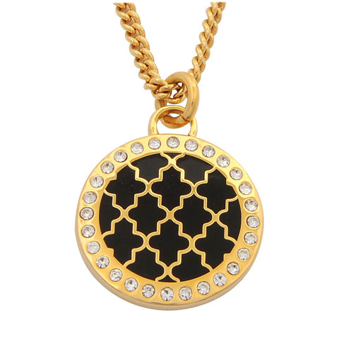 Enamel Pendant | Agama Sparkle Pendant Necklace | Black and Gold | Halcyon Days | Made in England