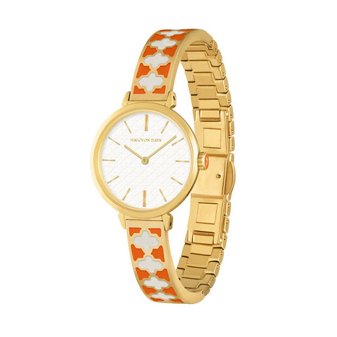 Agama Bangle Strap Ladies Watch | Orange Enamel on Gold | Halcyon Days | Made in England