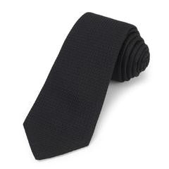 Grenadine Silk Tie, Black | Benson and Clegg | Made in England