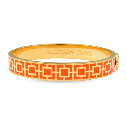 Enamel Bangle | 10mm Mosaic Hinged Bangle | Orange and Gold | Halcyon Days | Made in England-Bangle-Sterling-and-Burke