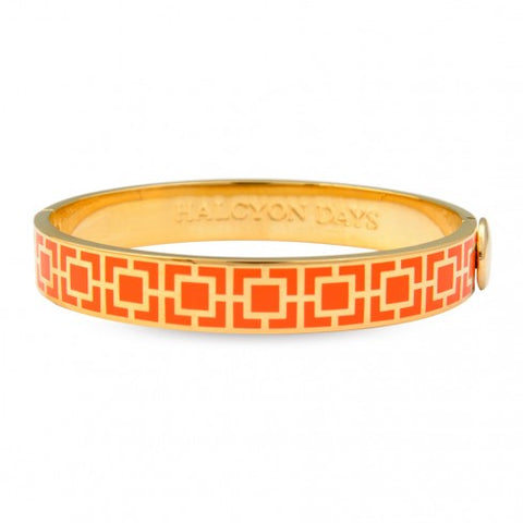 Enamel Bangle | 1cm Mosaic Hinged Bangle | Orange and Gold | Halcyon Days | Made in England-Bangle-Sterling-and-Burke