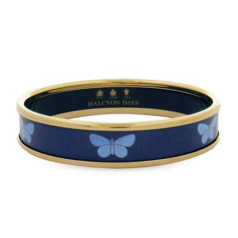 Enamel Bangle | Butterfly Bangle, Navy and Gold | Halcyon Days | Made in England-Bangle-Sterling-and-Burke