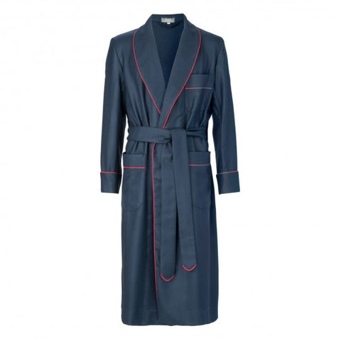 Budd Wool Dressing Gown in Navy & Red