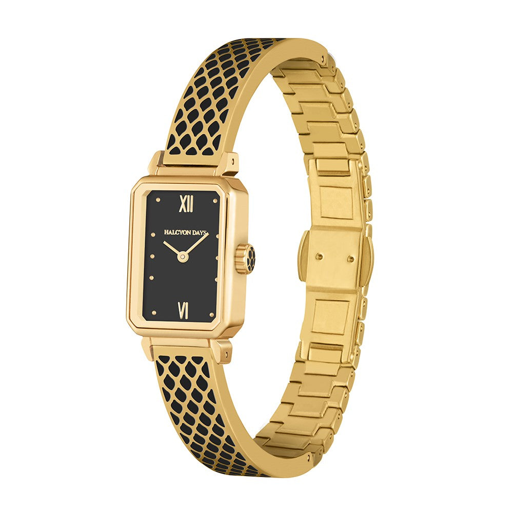 Salamander Bangle Strap Watch, Black & Gold | Halcyon Days | Made in England-Ladies Watch-Sterling-and-Burke