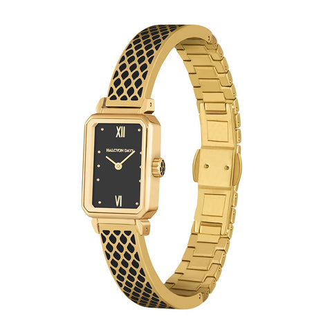 Halcyon Days Salamander Enamel Bangle Strap Watch in Black and Gold