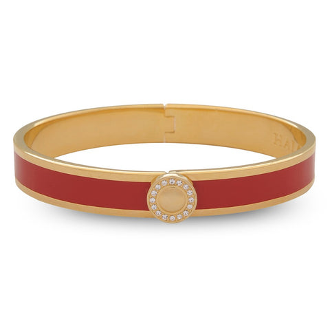 Halcyon Days 1cm Sparkle Button Hinged Enamel Bangle in Red and Gold