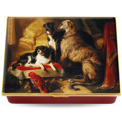 Enamel Prestige Box | Hector, Nero, and Dash with the Parrot, Lory' by Sir Edwin Landseer Enamel Box | Halcyon Days | Made in England-Prestige Box-Sterling-and-Burke