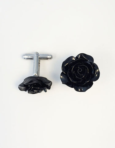 Flower Cufflinks | Black Floral Cuff Links | Polished Finish Cufflinks | Hand Made in USA