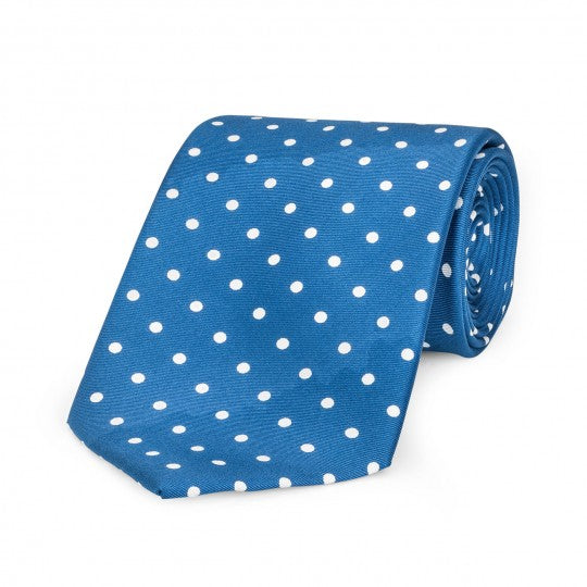 Medium Spot Foulard Neck Tie | Blue and White Silk | Made in England by Budd Shirts-Necktie-Sterling-and-Burke
