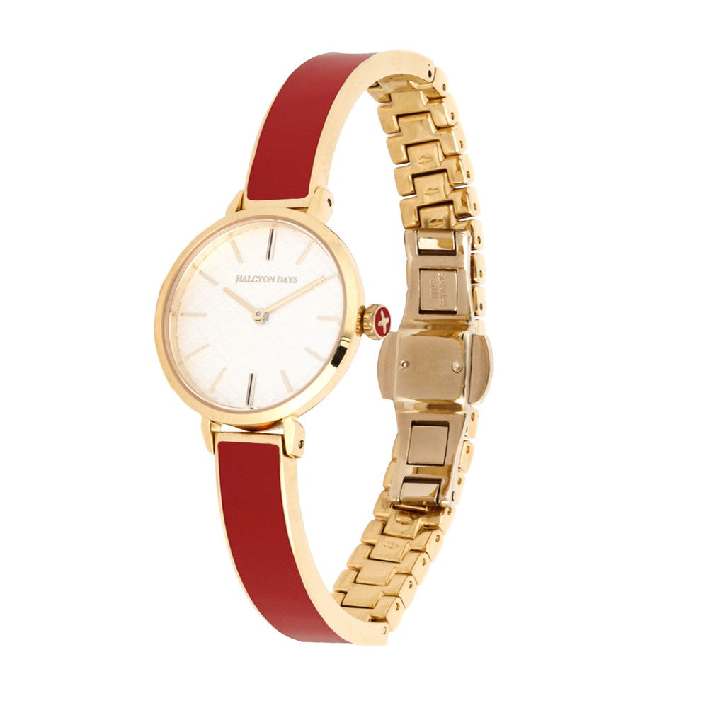 Halcyon Days Agama Plain Enamel Bangle Strap Watch in Red and Gold-Jewelry-Sterling-and-Burke