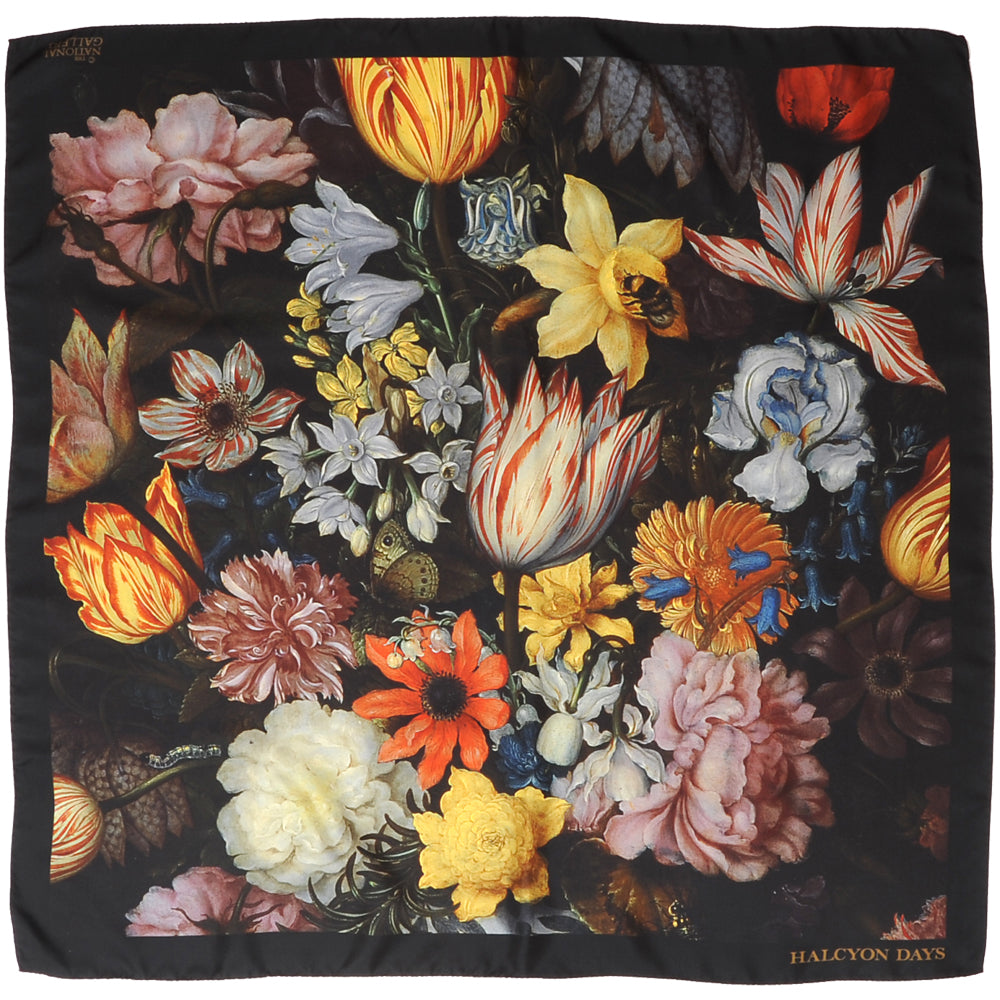 'Still Life Of Flowers In A Wan-Li Vase' by Bosschaert | Black | Silk Scarf | 36 by 36 Inches | Halcyon Days | Made in England-Silk Scarf-Sterling-and-Burke