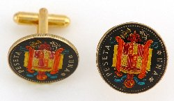 Hand Painted Authentic Coin Cufflinks | Spain Peseta Coin Cufflinks | Spanish Coin | Navy | Sterling and Burke | Made in USA