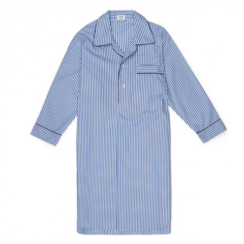 Exclusive Budd Stripe Cotton Nightshirt, Edwardian Blue | Budd Shirtmakers