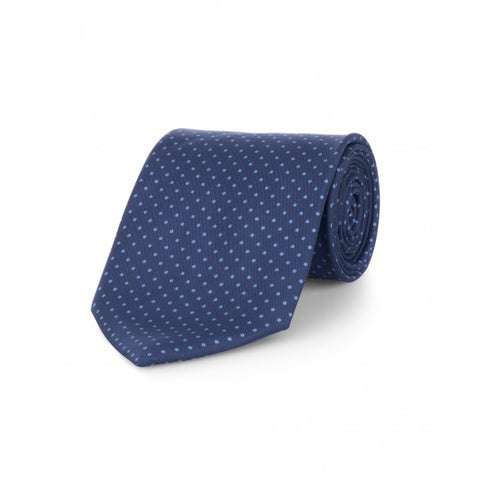 Budd Small Spot Foulard Silk Tie in Navy & Blue-Necktie-Sterling-and-Burke