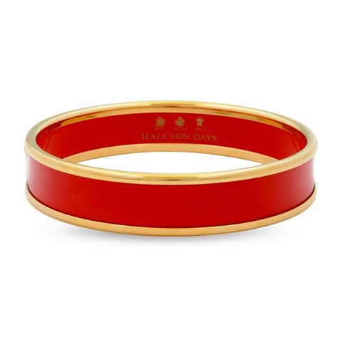 Enamel Bangle | 1cm Push Bangle | Red and Gold | Halcyon Days | Made in England