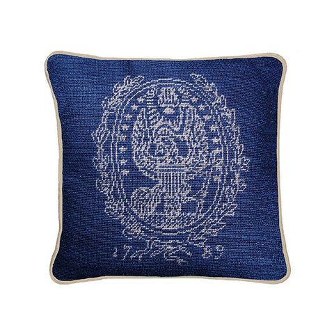 Needlepoint Collection | Georgetown University Needlepoint Pillow | 12 by 12 Inch | Georgetown Crest | Hoya | Blue and Grey | Smathers and Branson