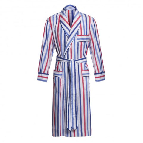 Budd Sleepwear | Deckchair Stripe Cotton Dressing Gown | Red, White, and Blue | Budd Shirtmakers | Made in England