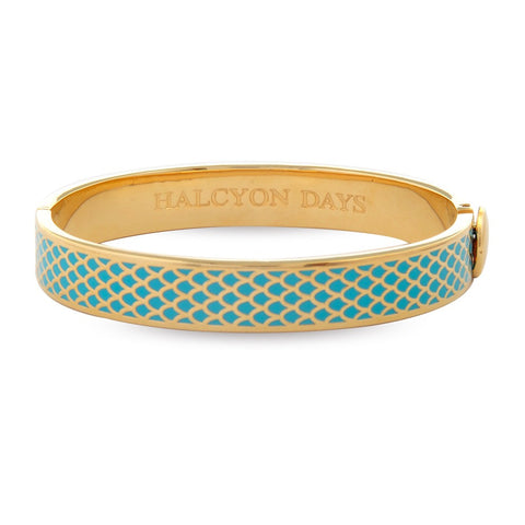 Enamel Bangle | 1cm Salamander Hinged Turquoise and Gold Bangle | Halcyon Days | Made in England-Bangle-Sterling-and-Burke