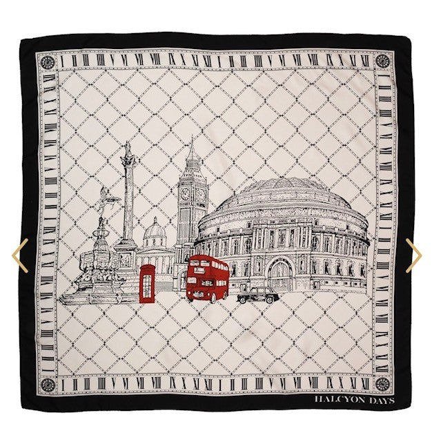 Halcyon Days Silk Scarf | London Icons, Black | Silk Scarf | 36 by 36 Inches | Made in England-Silk Scarf-Sterling-and-Burke