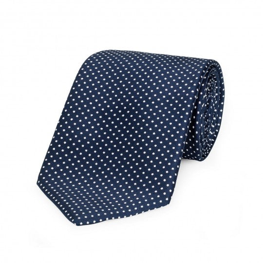 Small Spot Foulard Neck Tie | Navy and White Silk | Made in England by Budd Shirts-Necktie-Sterling-and-Burke