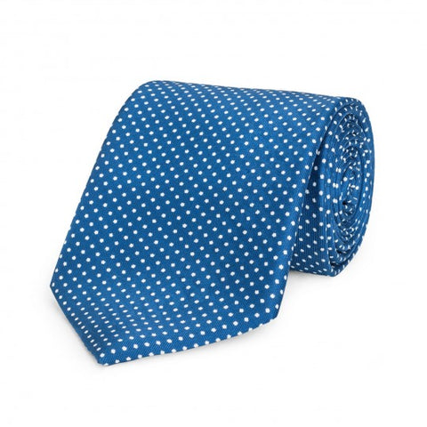 Small Spot Foulard Neck Tie | Blue and White Silk | Made in England by Budd Shirts-Necktie-Sterling-and-Burke
