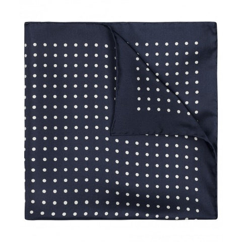 Budd Pocket Square | Medium Spot Pocket Square | Navy / Old White | Made in England | Budd Shirtmakers | Made in England