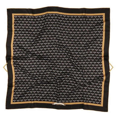 Halcyon Days Silk Scarf | Bee's Trellis, Black | Silk Scarf | 36 by 36 Inches | Halcyon Days | Made in England