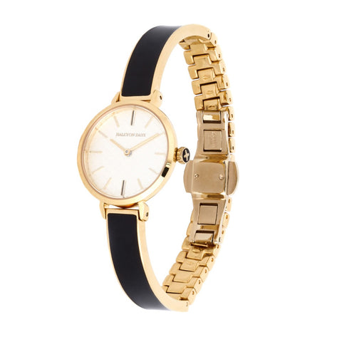 Halcyon Days Agama Plain Enamel Bangle Strap Watch in Black and Gold