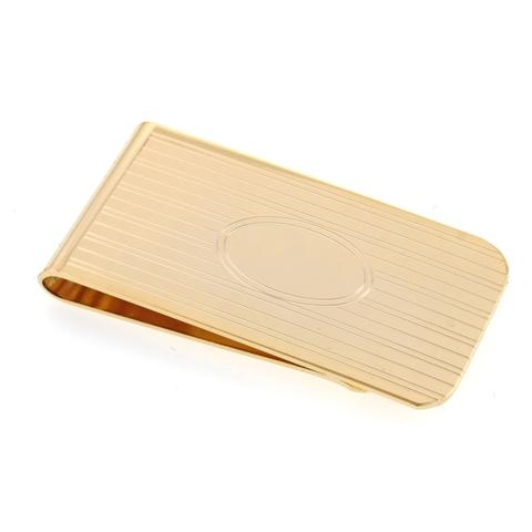 Gold Plate Money Clip | Classic Design Money Clip | Made in USA | Engrave Initials-Money Clip-Sterling-and-Burke