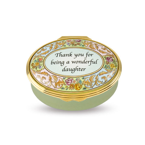 "Halcyon Days ""Thank You For Being A Wonderful Daughter"" Enamel Box"