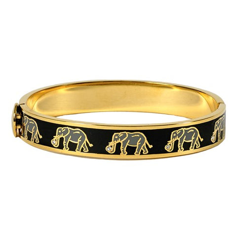 Enamel Bangle | Elephant Hinged Black and Gold Bangle | Halcyon Days | Made in England