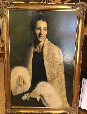 "Oil Painting | Portrait of Margaret Eaton by NGA Copyist, Pamela Jarrett | 36"" x 24""-Oil Painting-Sterling-and-Burke"