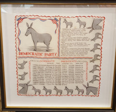 Democratic Vintage Political Framed Art | Democrat Handkerchief Art | 1950's | 20 by 20 Inches Framed-Vintage Hankerchief-Sterling-and-Burke