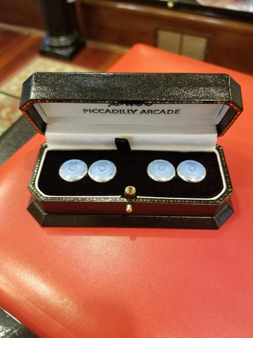 Silver Domed Enamel Cufflinks, Light Blue | Budd Shirtmakers | Made in England-Enamel Cufflinks-Sterling-and-Burke