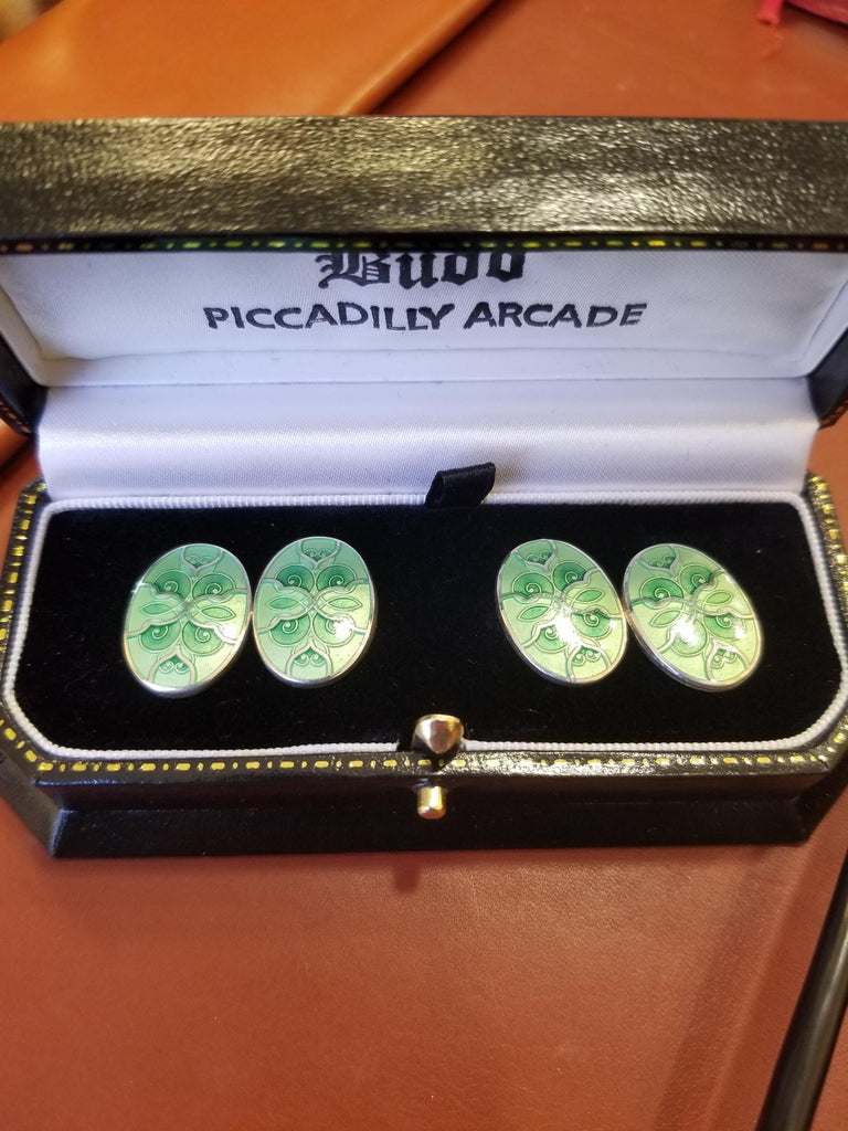 Silver Cloisonné Enamel Chain Cufflinks, Green | Budd Shirtmakers | Made in England-Enamel Cufflinks-Sterling-and-Burke