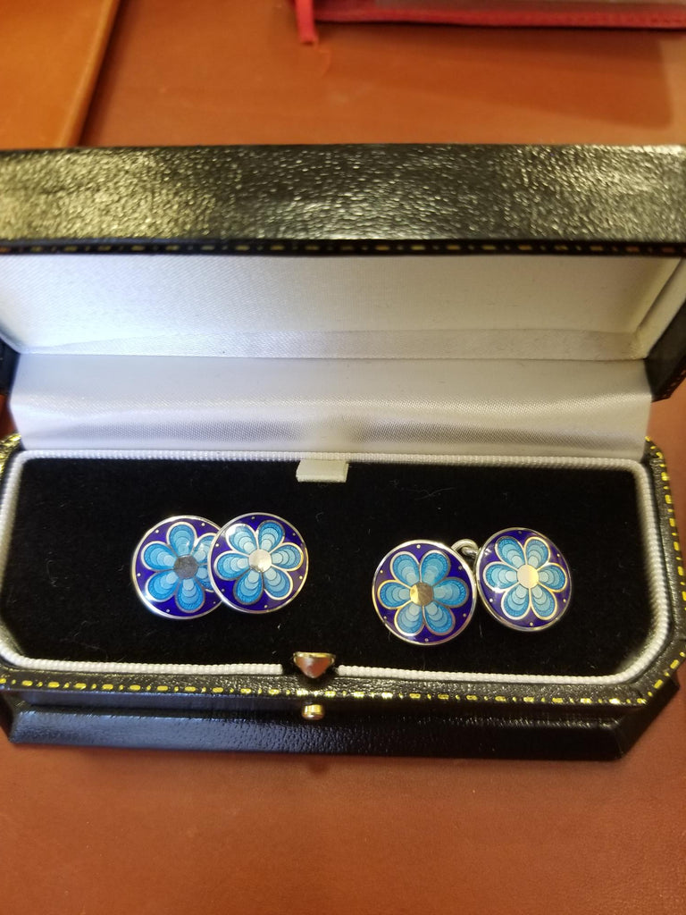 Silver Cloisonné Enamel Chain Cufflinks, Blue Flower | Budd Shirtmakers | Made in England-Enamel Cufflinks-Sterling-and-Burke