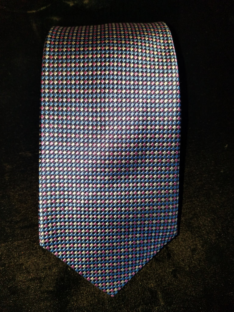 Mini Natte Woven Tie | Blue & Pink | Budd Shirtmakers | Made in England-Necktie-Sterling-and-Burke