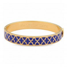 Enamel Bangle | 1cm Agama Hinged Deep Cobalt and Gold Bangle | Halcyon Days | Made in England-Bangle-Sterling-and-Burke