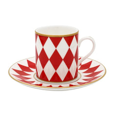 Fine English Bone China | Parterre Coffee Cups and Saucers, Red | Set of 6 | Halcyon Days | Made in England-Coffee / Tea Set-Sterling-and-Burke