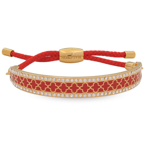 Enamel Bangle | Agama Sparkle Friendship Bangle, Red and Gold | Halcyon Days | Made in England