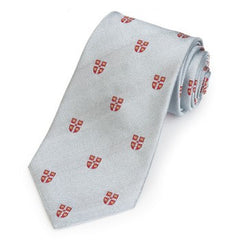 Cambridge University Crest | Grey / Silver | Silk Tie | Benson and Clegg | Made in England-Necktie-Sterling-and-Burke